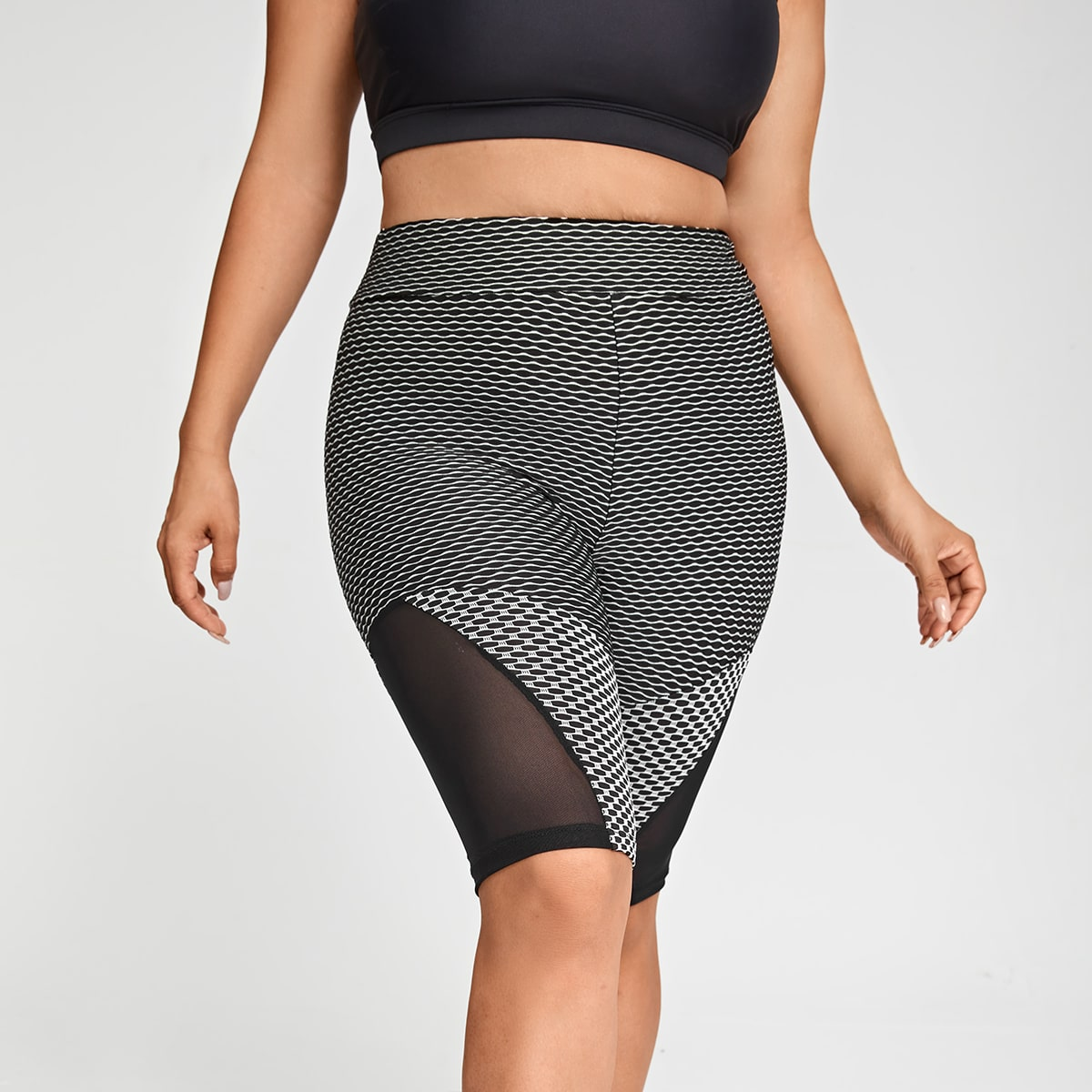Plus Contrast Mesh Textured Sports Shorts, SHEIN  - buy with discount