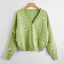 Ditsy Floral Embroidery Button Front Cardigan