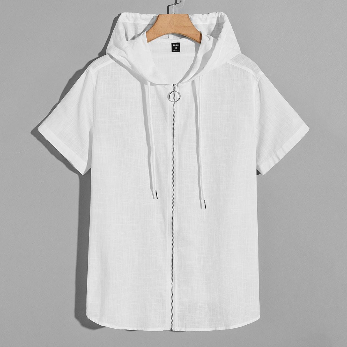 Мужской Рубашка на молнии с капюшоном
