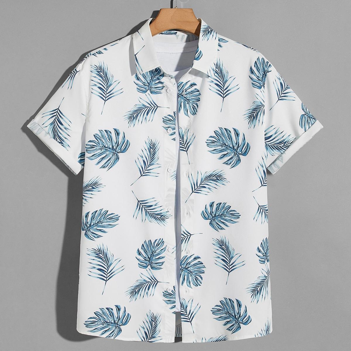 Мужской Рубашка с тропическим принтом с закатывающимися рукавами на пуговицах SheIn smshirt07210612875
