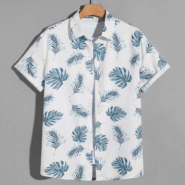 Men Tropical Print Roll Sleeve Button Through Shirt, Black and white