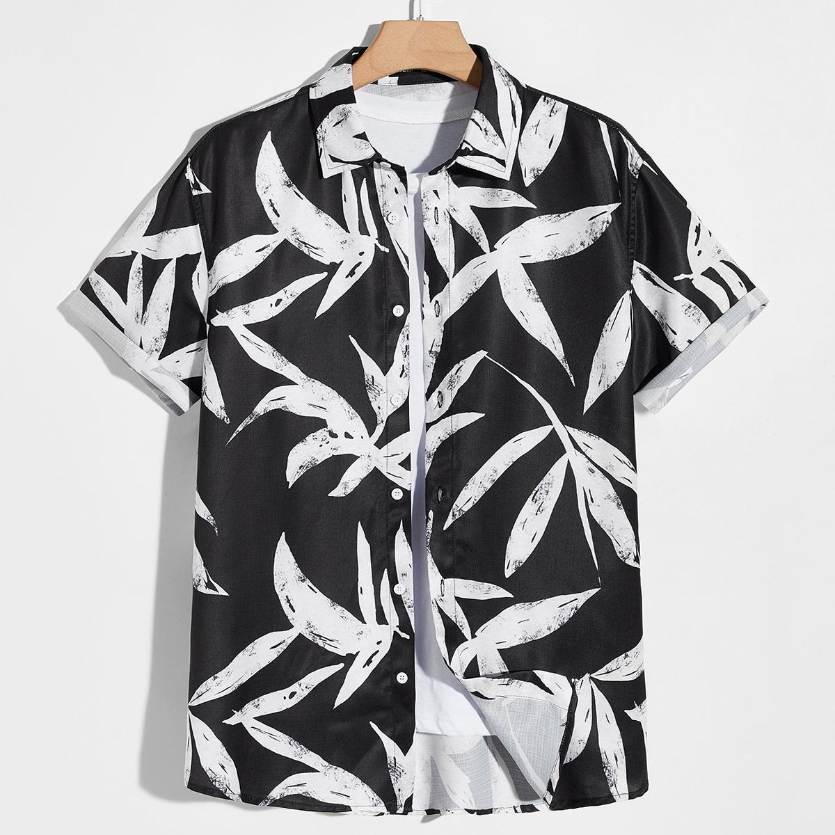 Мужской Рубашка с принтом листьев с закатывающимися рукавами на пуговицах SheIn smshirt07210612769