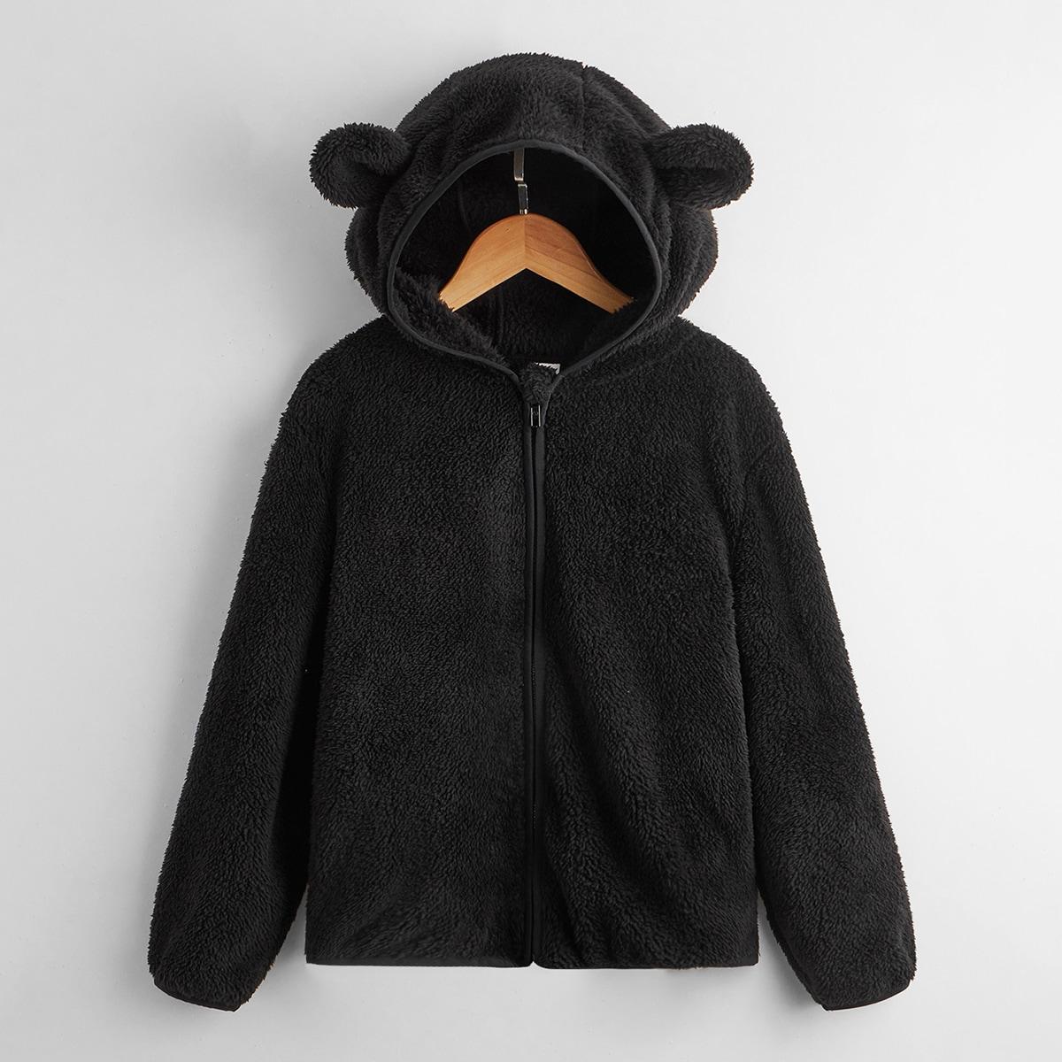 Boys Flannel 3D Bear Ear Zip Up Jacket