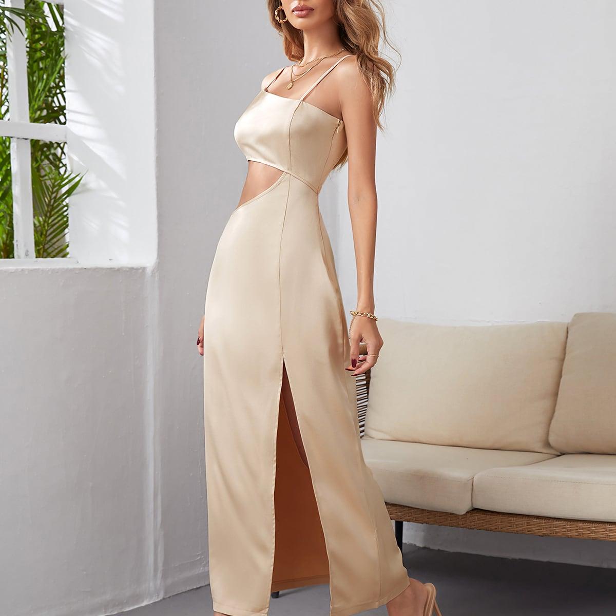 Платье на бретелях с разрезом высоким разрезом SheIn swdress44210520599