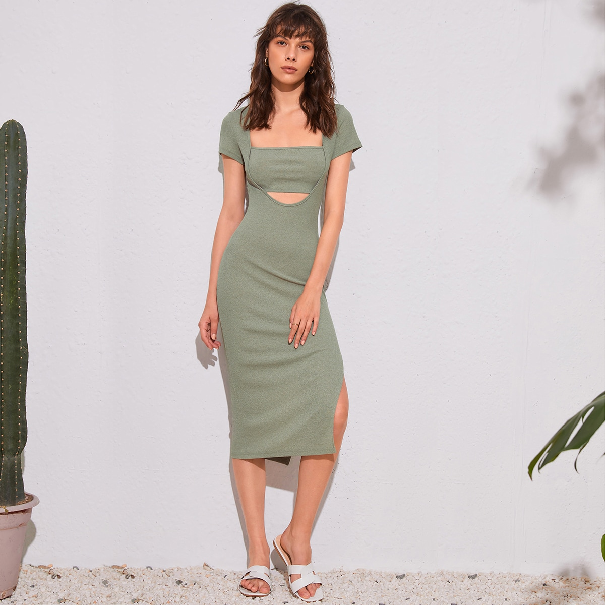 Платье с квадратным воротником с разрезом с разрезом SheIn swdress25210602375