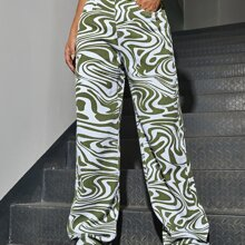 High Waisted Marble Print Wide Leg Jeans