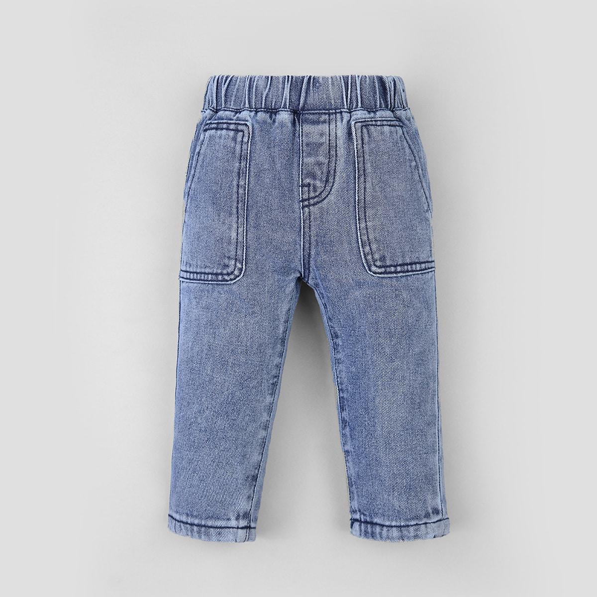 Однотонные джинсы для мальчиков с эластичной талией от SHEIN