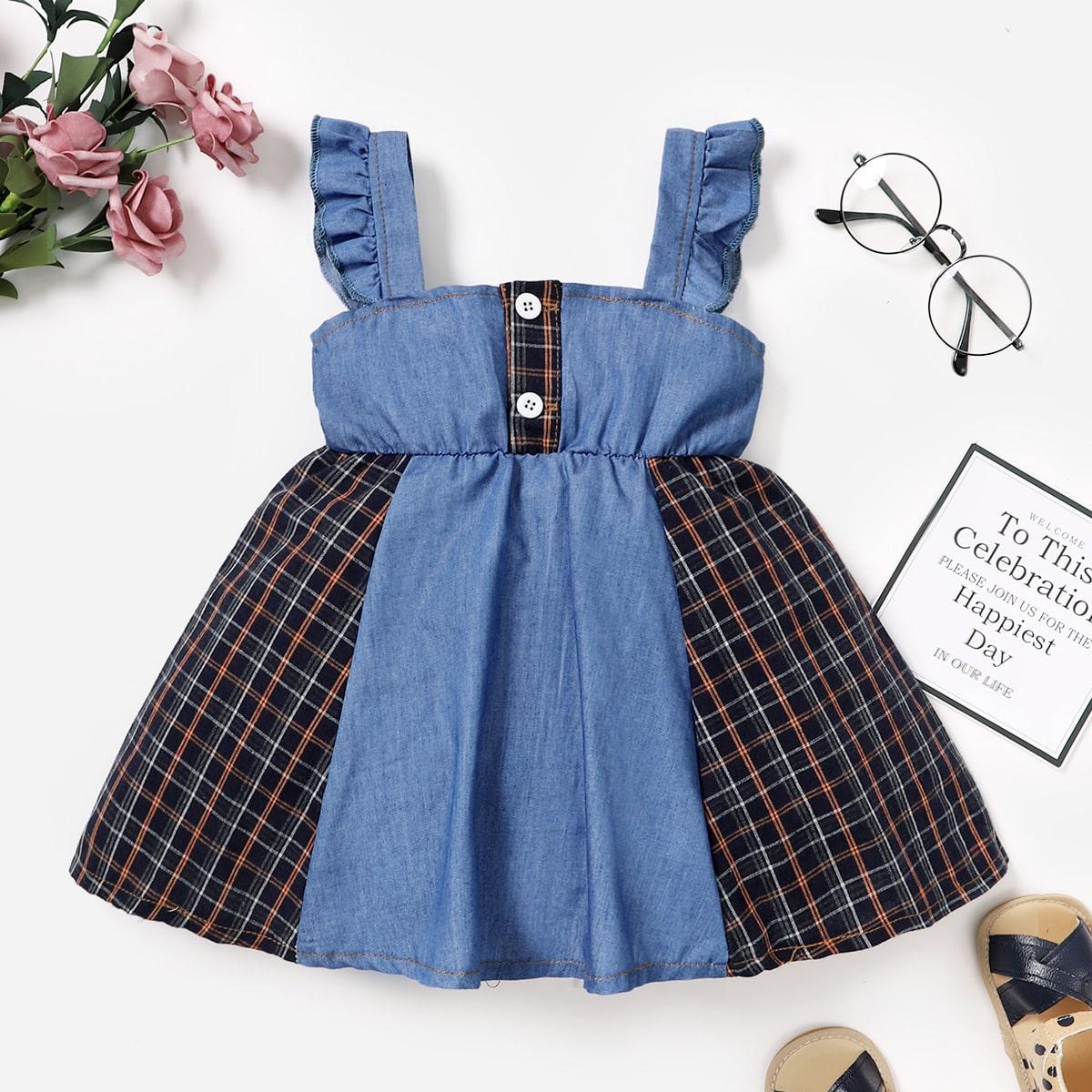 для девочек Джинсовое платье в клетку контрастный