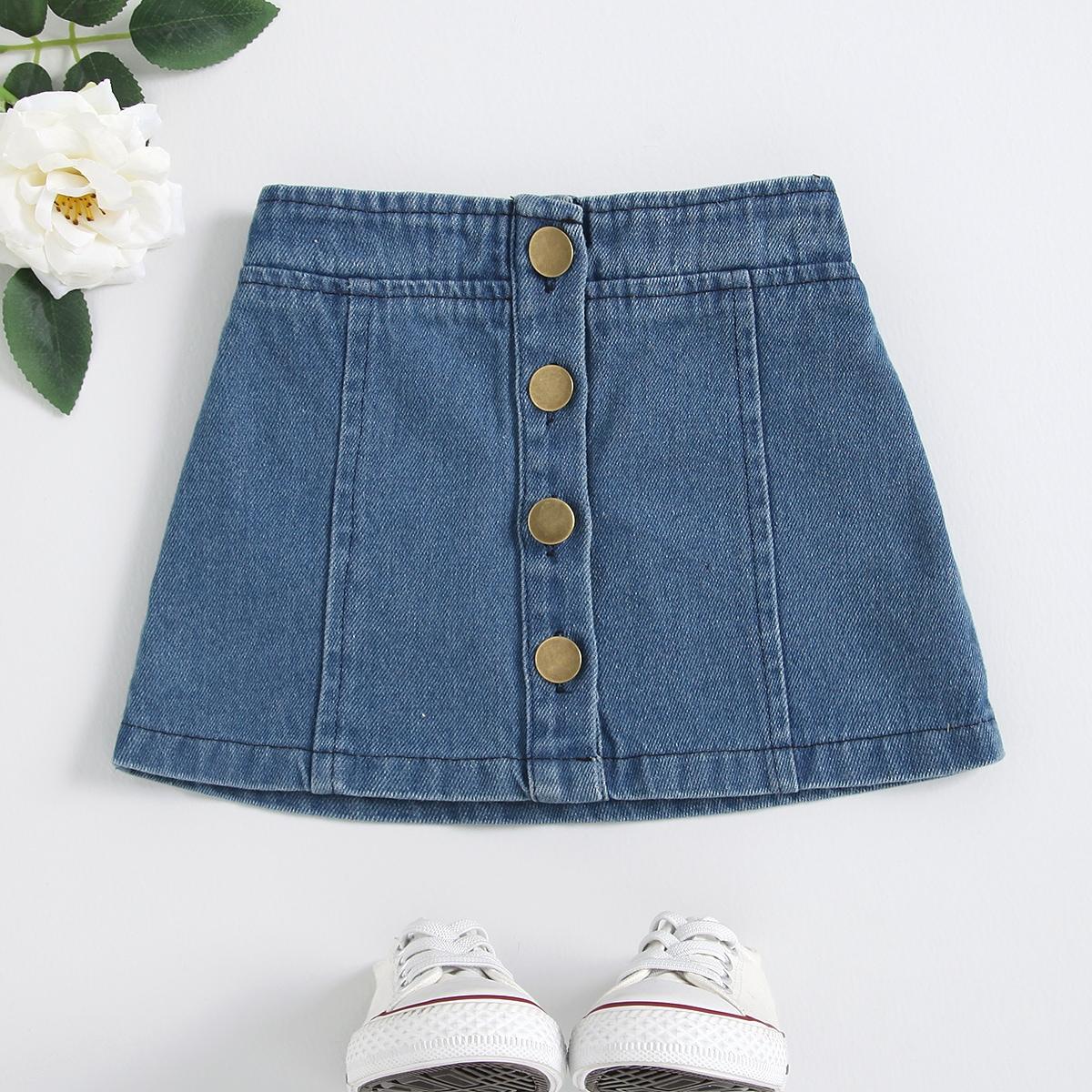 для девочек Джинсовая юбка на пуговицах от SHEIN