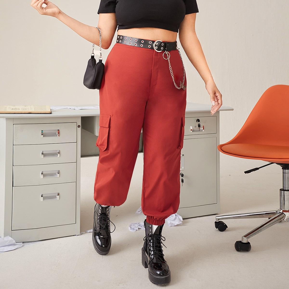 Plus Button Fly Flap Pocket Pants Without Belt