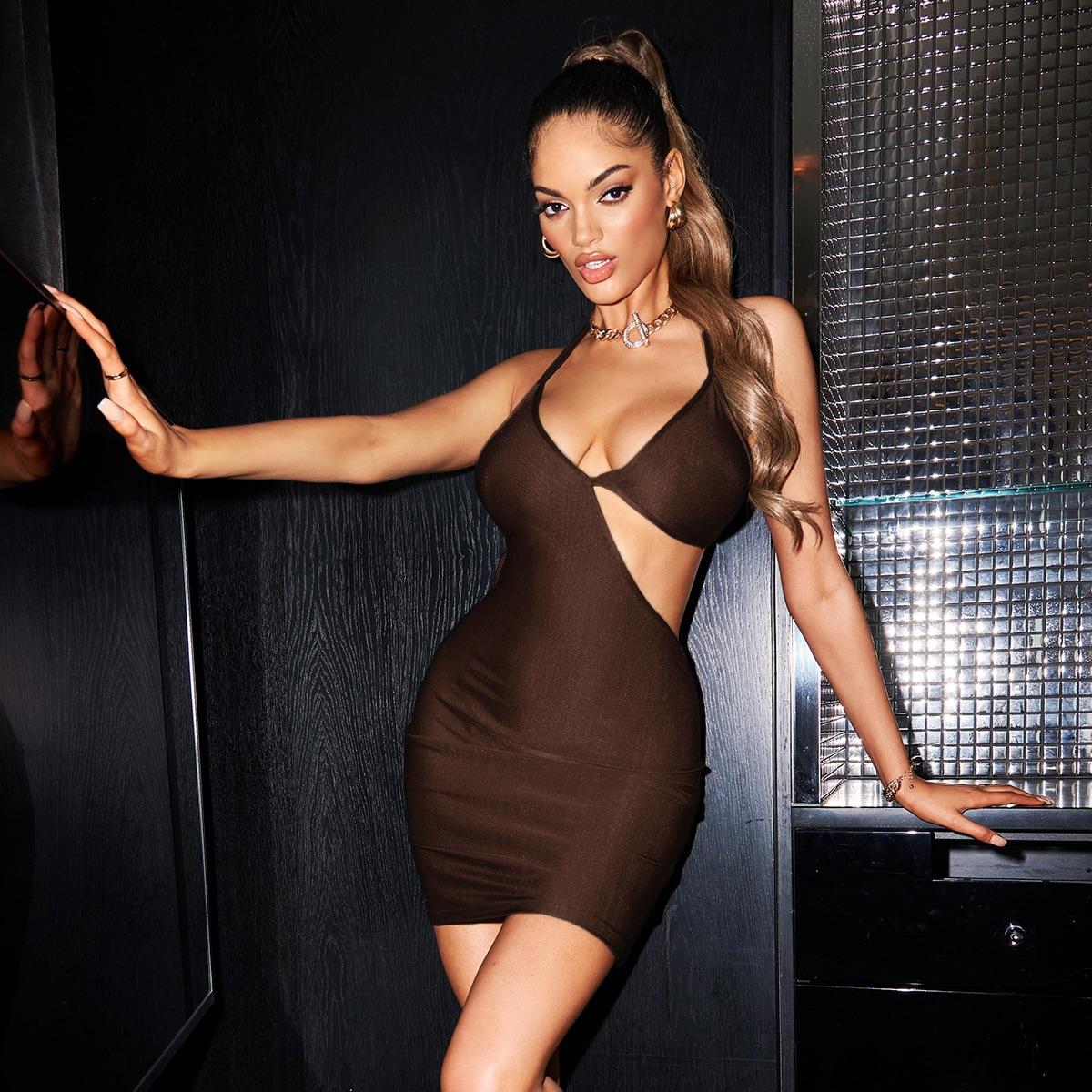 Облегающее платье с вырезом на спине SheIn swdress44210615851