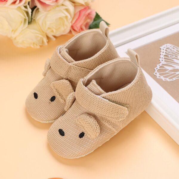 Baby Cartoon Design Velcro Strap Flats, Apricot