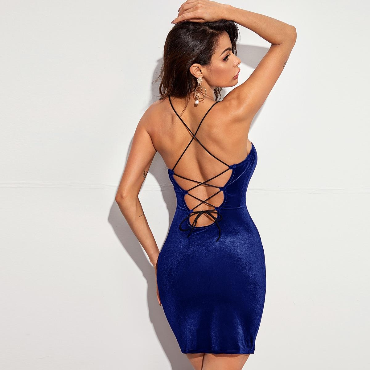 Бархатое облегающее платье с открытой спиной на шнурках SheIn swdress07210611838