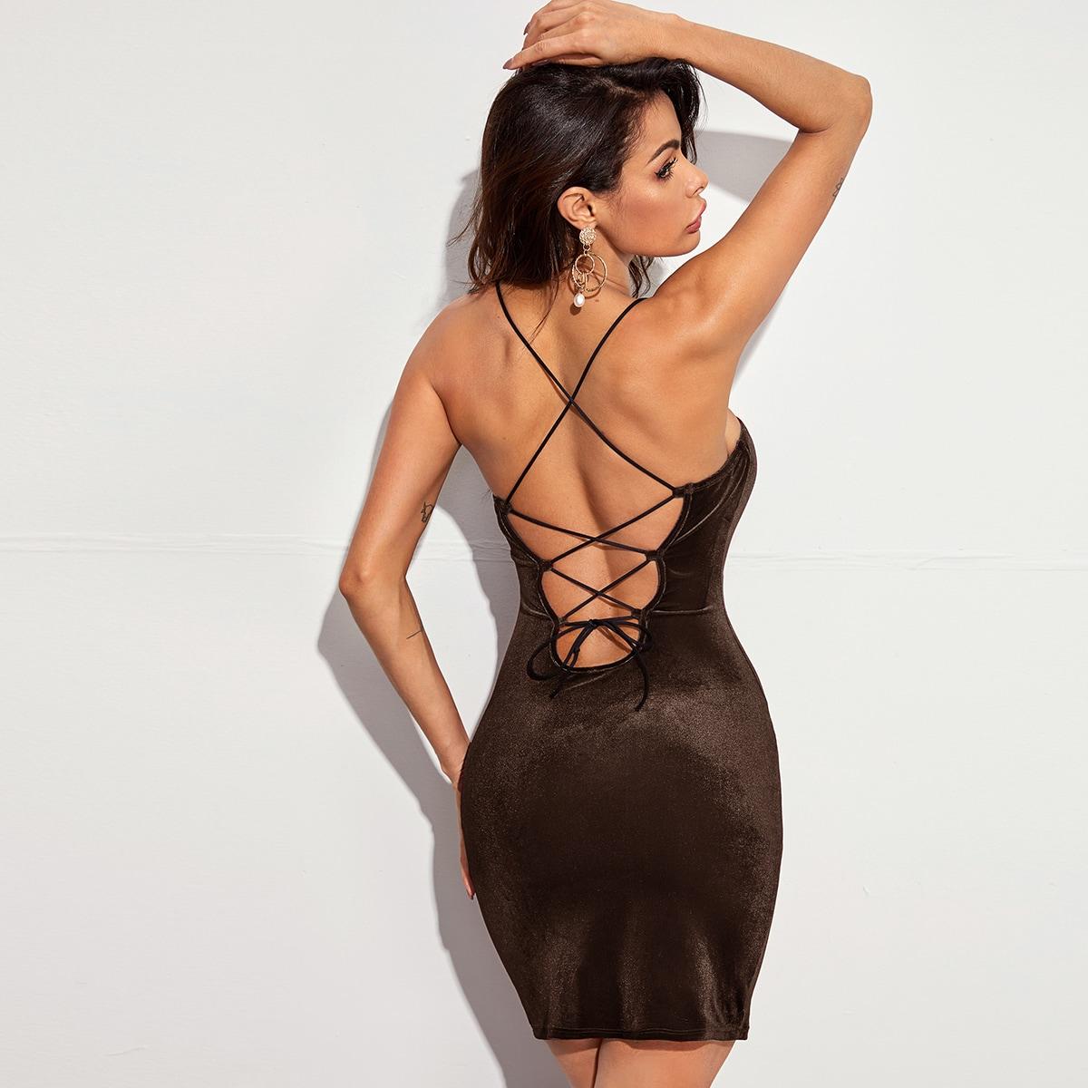 Бархатое облегающее платье с открытой спиной на шнурках SheIn swdress07210611087