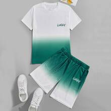 Guys Ombre Letter Graphic Tee With Shorts