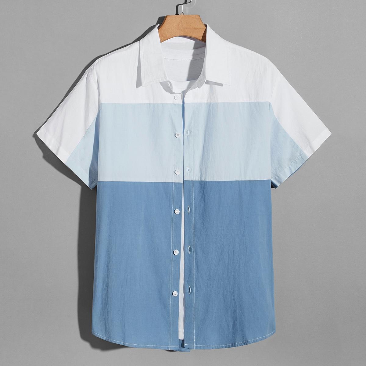 Мужской 1шт Рубашка комбинированным принтом на пуговицах