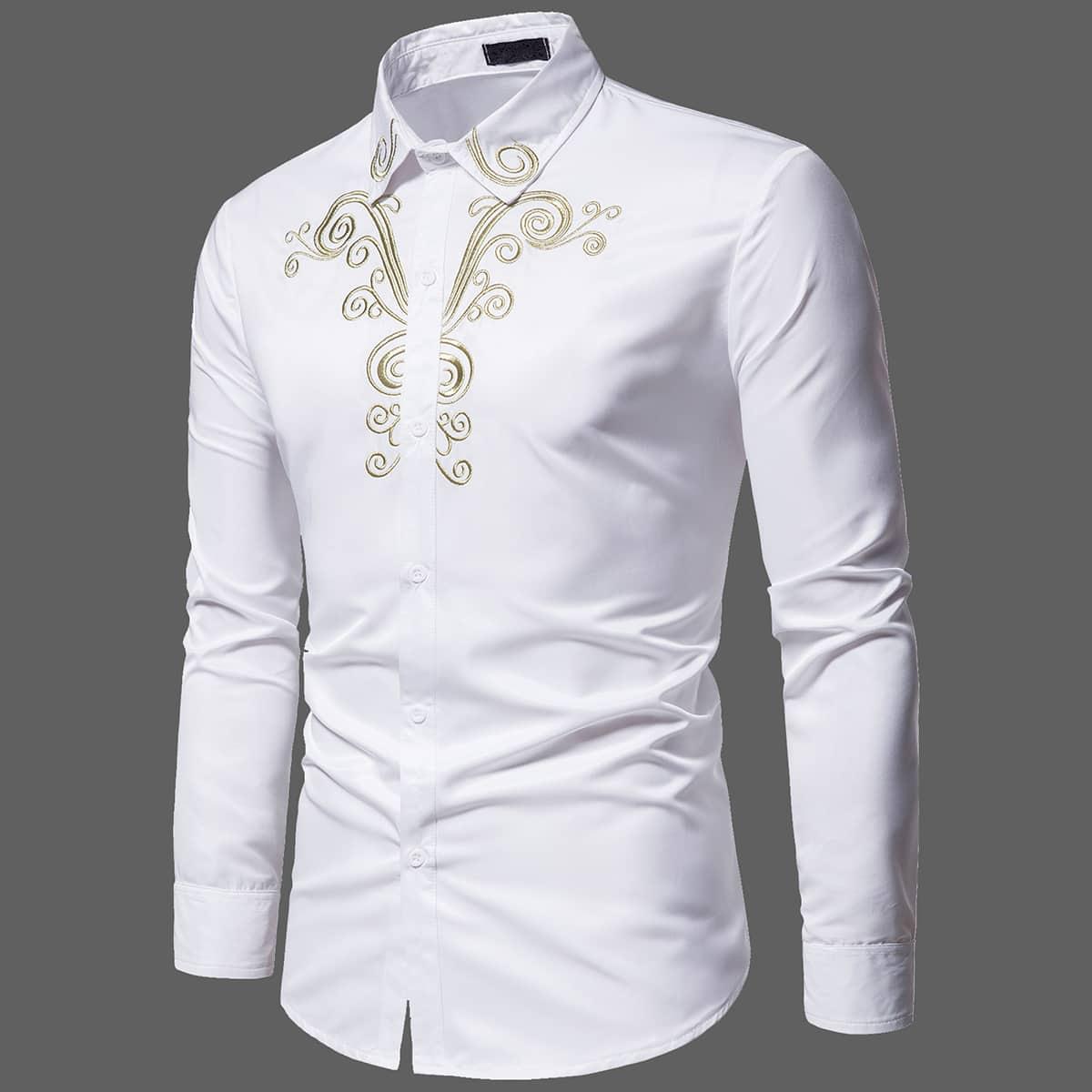 Мужской Рубашка с узором вышивкой на пуговицах