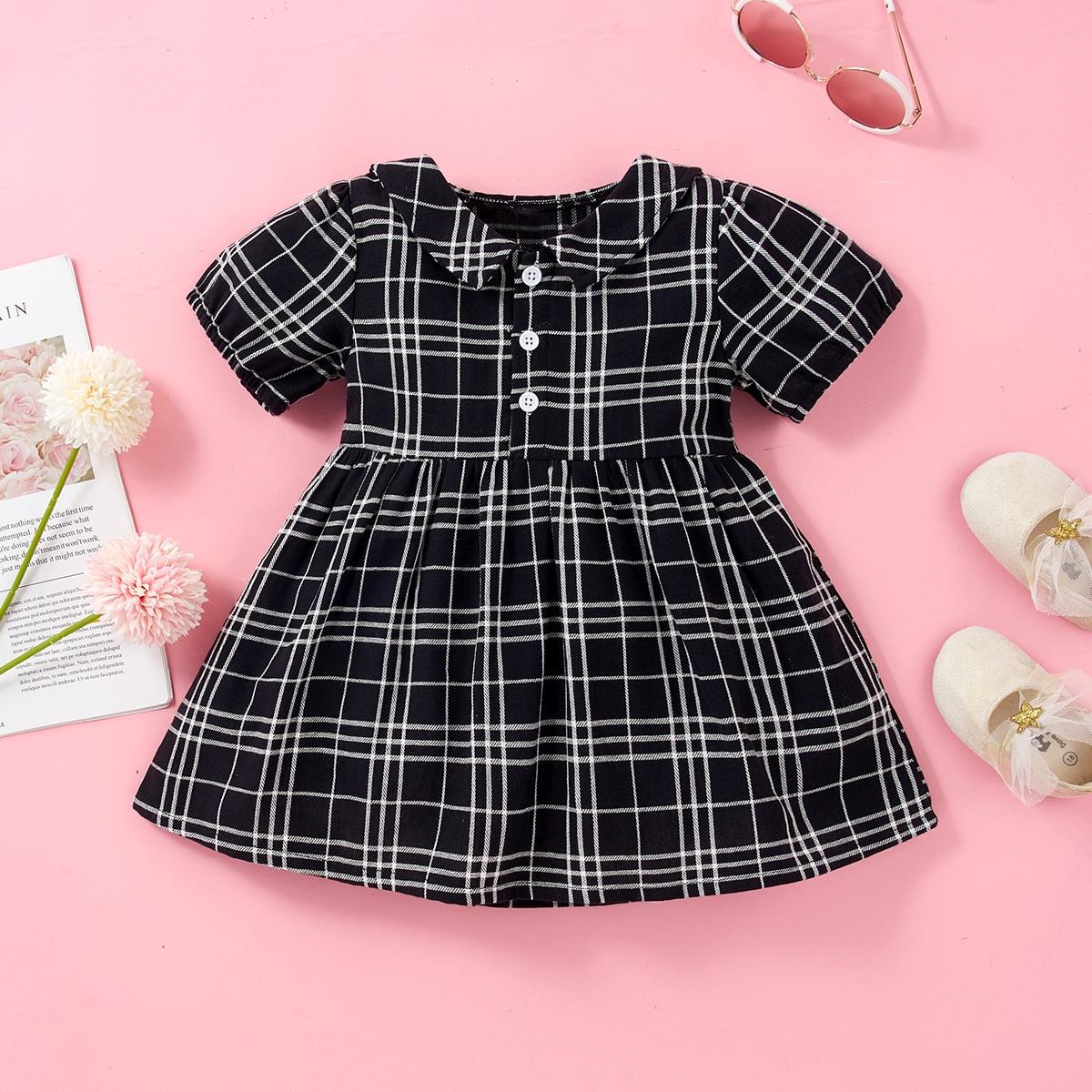 для девочек Платье-рубашка в клетку на пуговицах от SHEIN