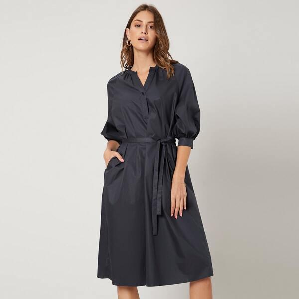 100% COTTON MIDI BELTED DRESS, Navy blue