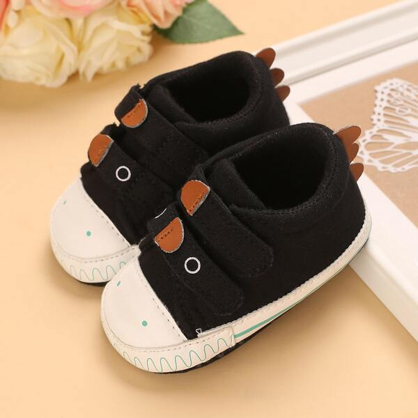 Baby Cartoon Design Velcro Strap Flats, Black