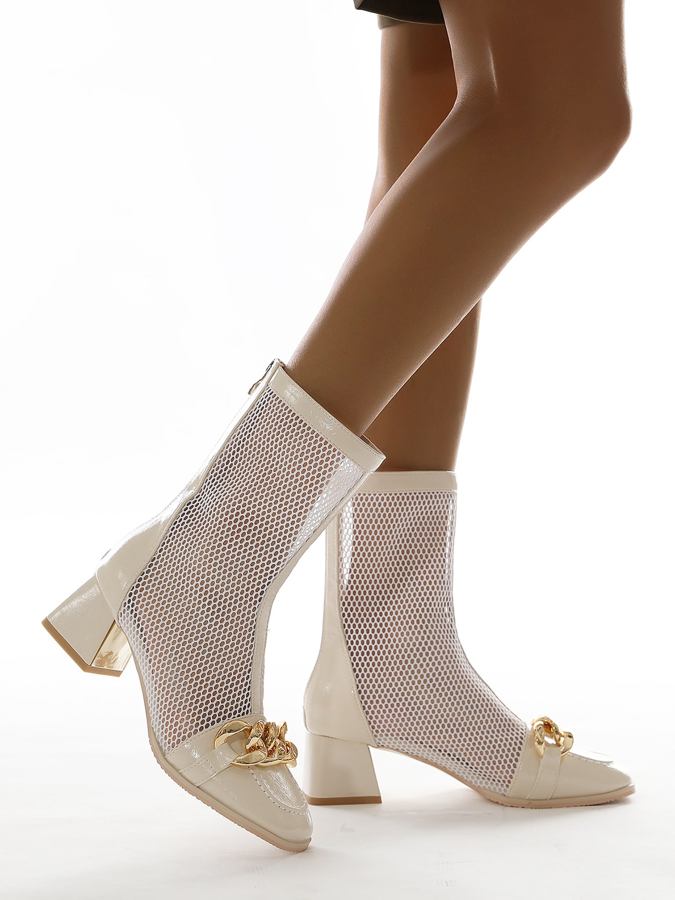 Chain Decor Chunky Heeled Sandals Boots
