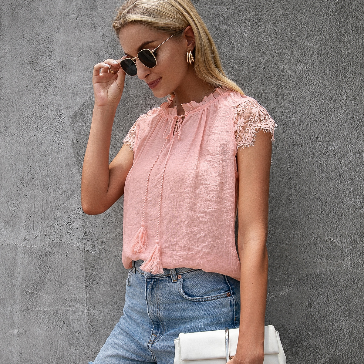 Блуза с кружевом SheIn swblouse23210603023