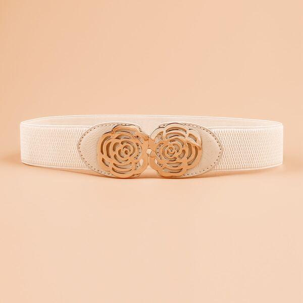 Metal Flower Decor Corset Belt, White