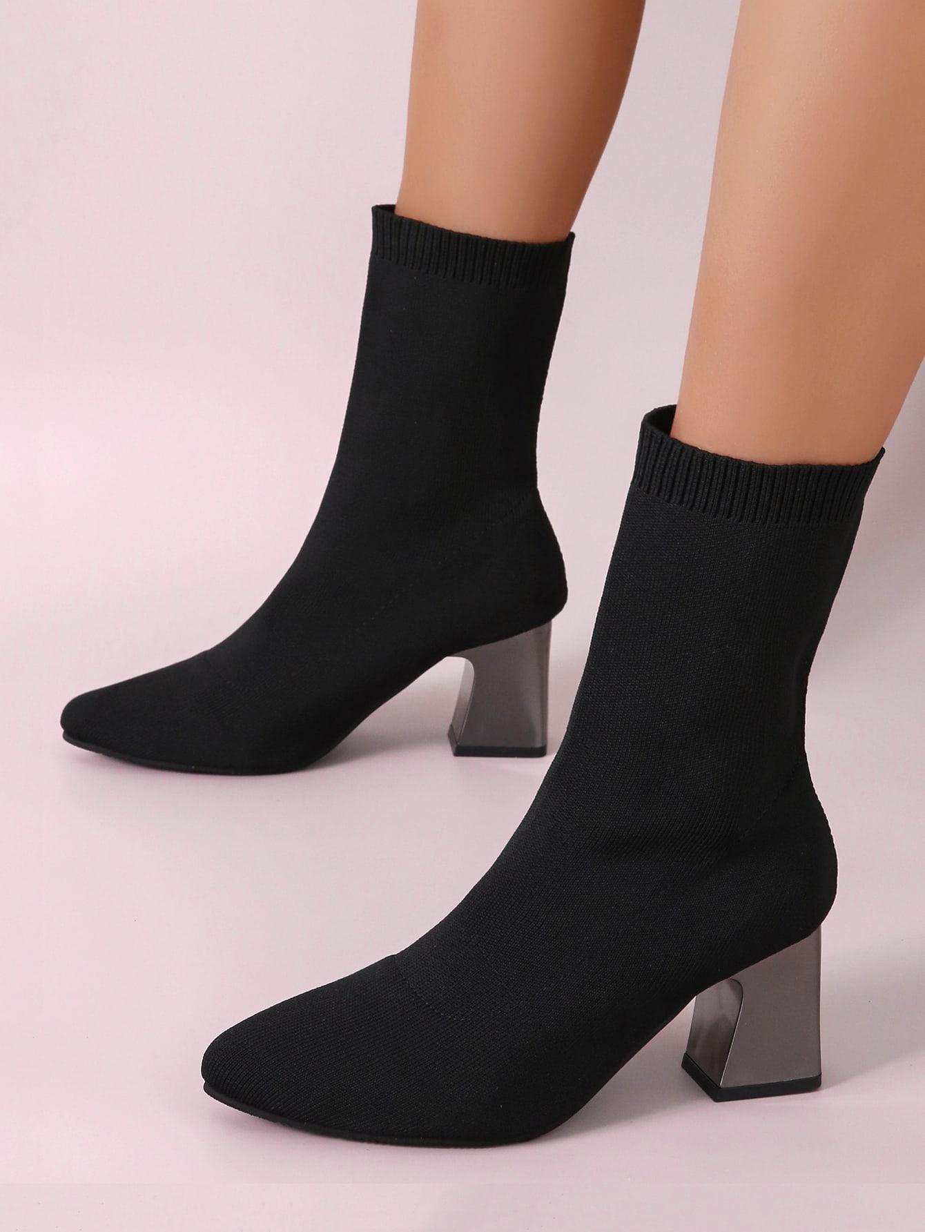 Chunky Heeled Sock Boots