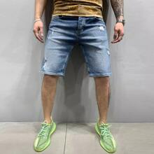 Guys Ripped Bermuda Denim Shorts