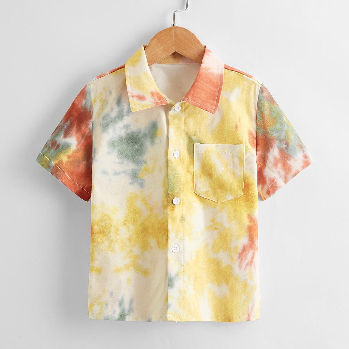 с карманами Пуговица тай дай Бохо Рубашки для мальчиков