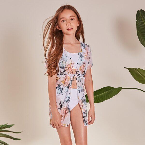 3pack Girls Floral Print Bikini Swimsuit With Kimono, White