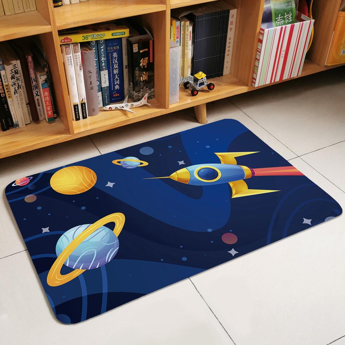 Детский коврик с принтом планеты