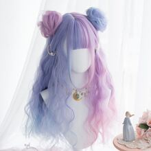 Long Curly Wig With Bangs & Hair Pack