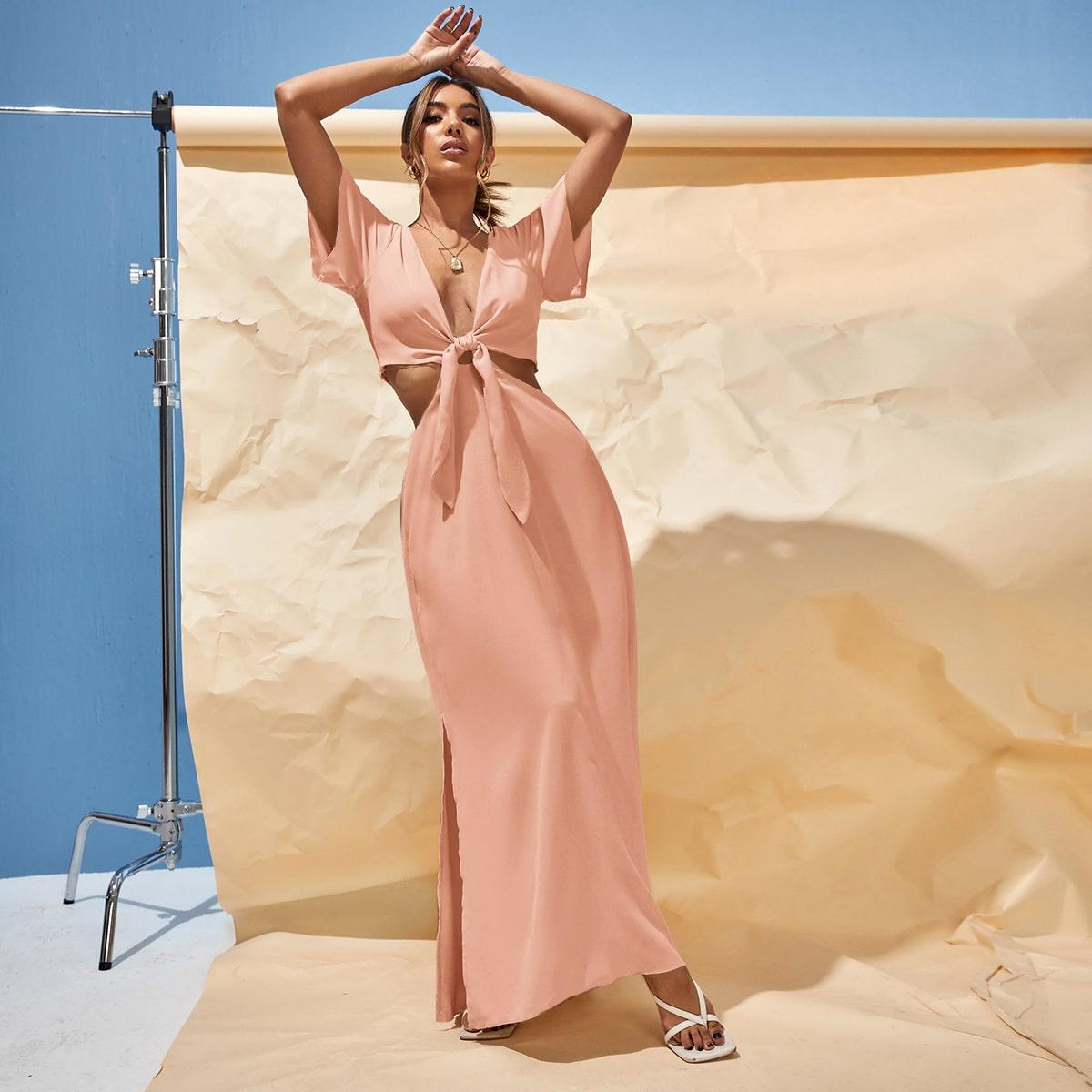 Платье с узлом с разрезом с разрезом SheIn swdress25210611446