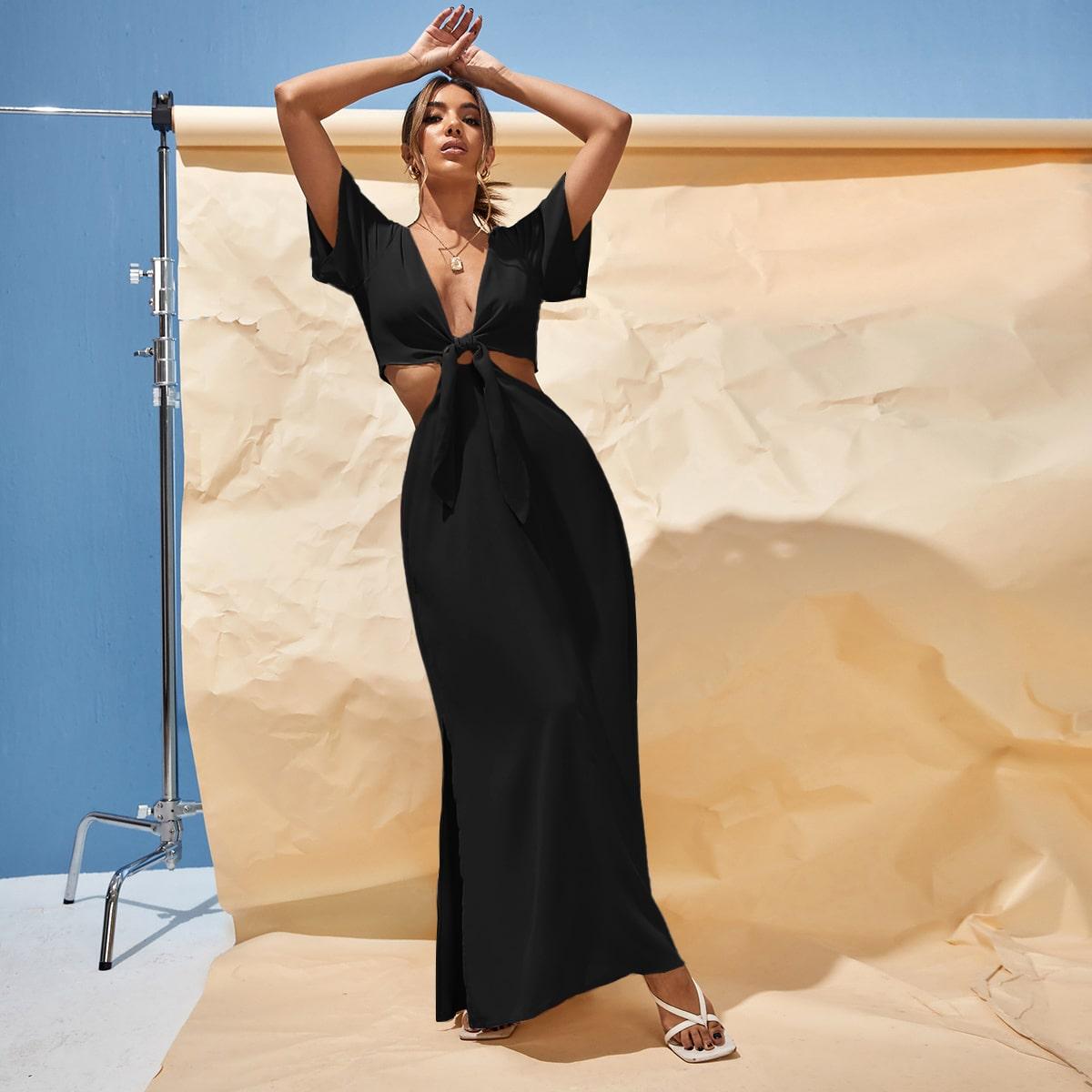 Платье с разрезом с узлом разрез SheIn swdress25210610167