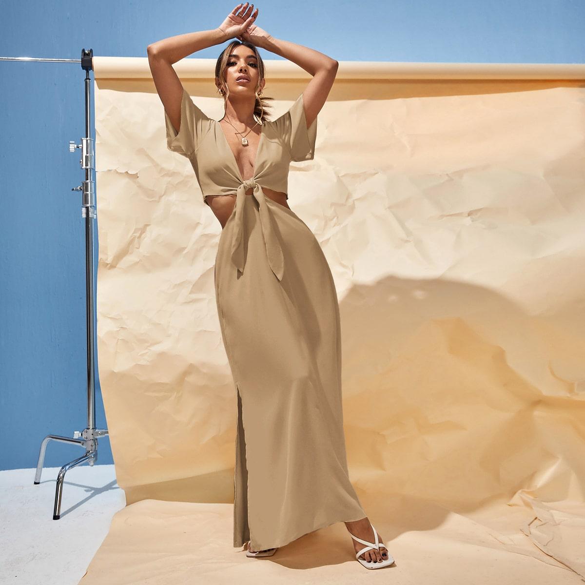 Платье с узлом с разрезом с разрезом SheIn swdress25210610386