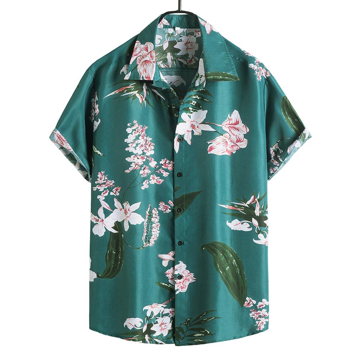 Мужская рубашка на пуговицах с цветочным рисунком