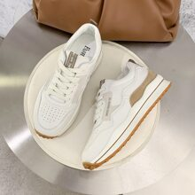 Lace Up Front Perforated Skate Shoes