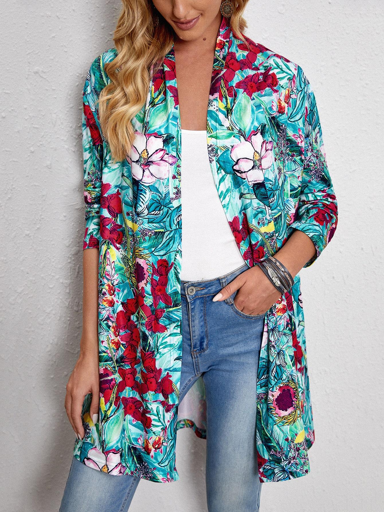 Open Front Floral Print Coat