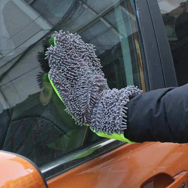 1pc Five-finger Car Wash Glove, Grey