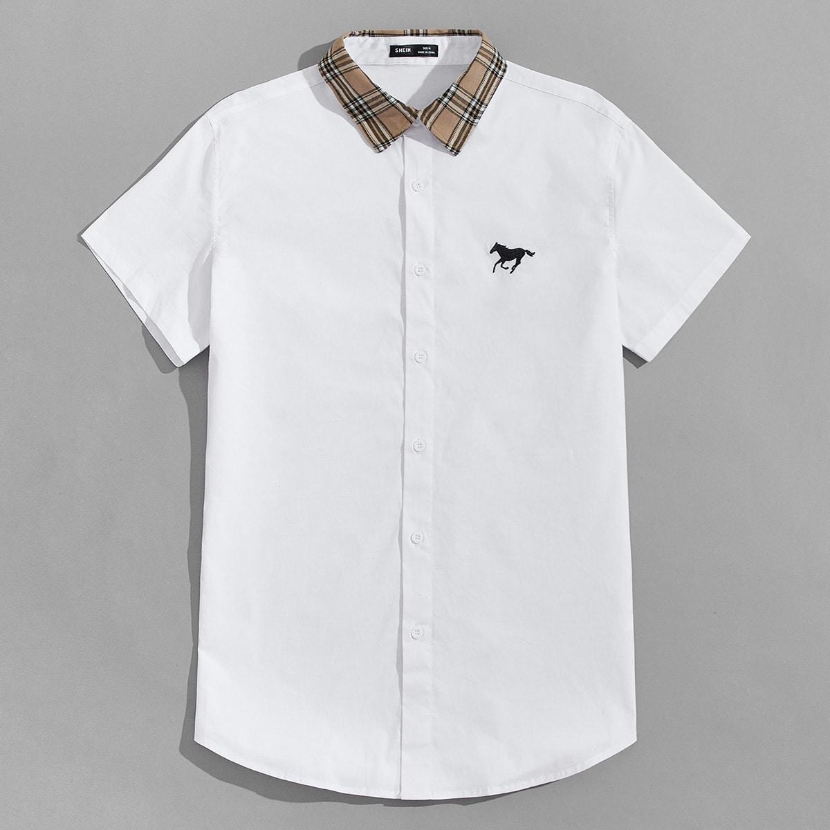 Мужская рубашка с вышивкой лошади
