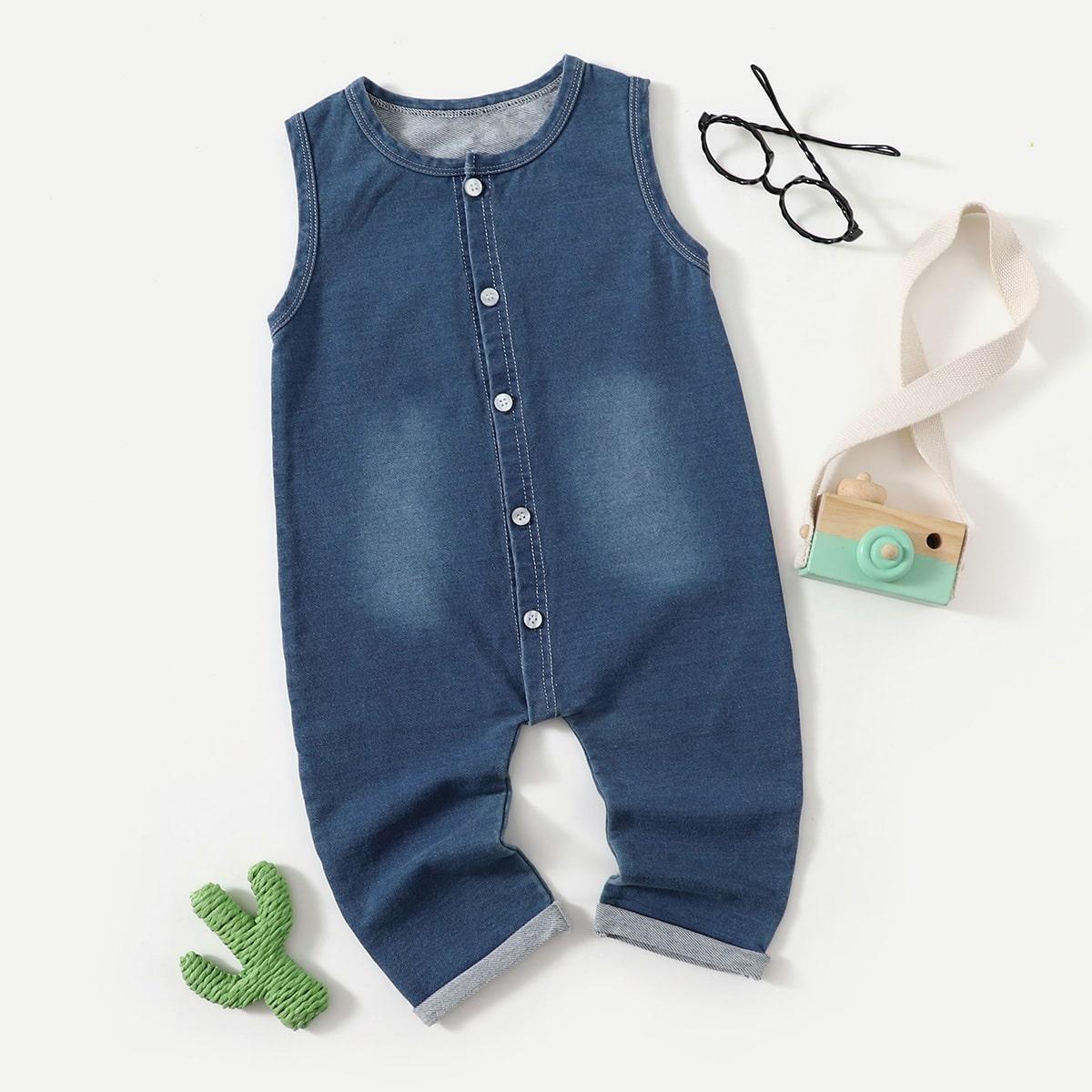 детский Комбинезон на пуговицах джинсовый от SHEIN