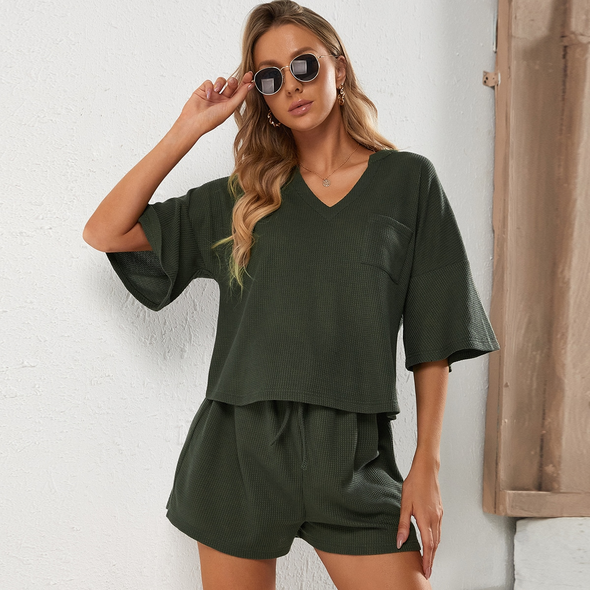 Maternity Solid Pocket Patched Tee & Shorts Set