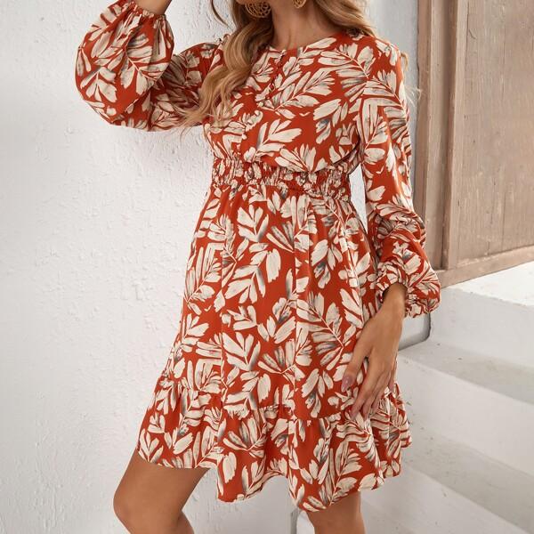 Maternity Leaf Print Blouson Sleeve Shirred A-line Dress, Multicolor