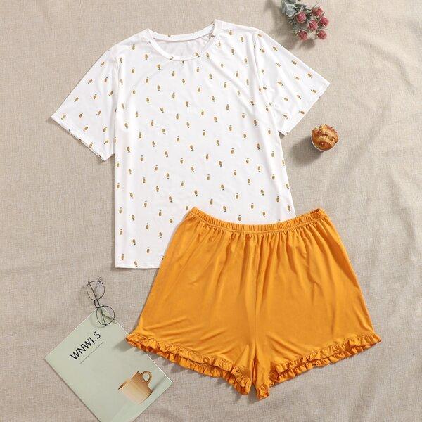 Plus Pineapple Print Tee And Frill Trim Shorts Pajama Set, Multicolor