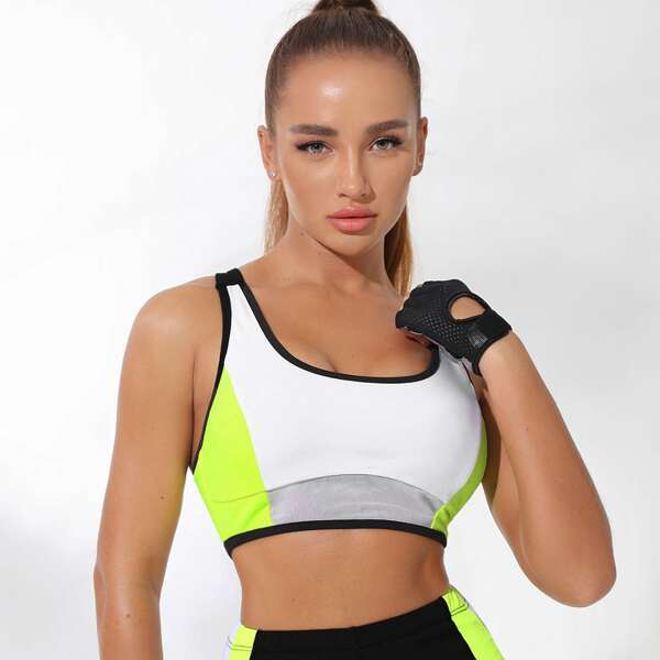 Absorbs Sweat Breathable Crisscross Back Colorblock Sports Bra, Multicolor