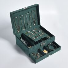 1pc Double Layer Jewelry Storage Box