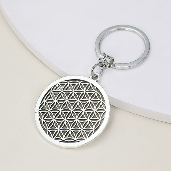 Hollow Out Round Charm Keychain, Antique silver