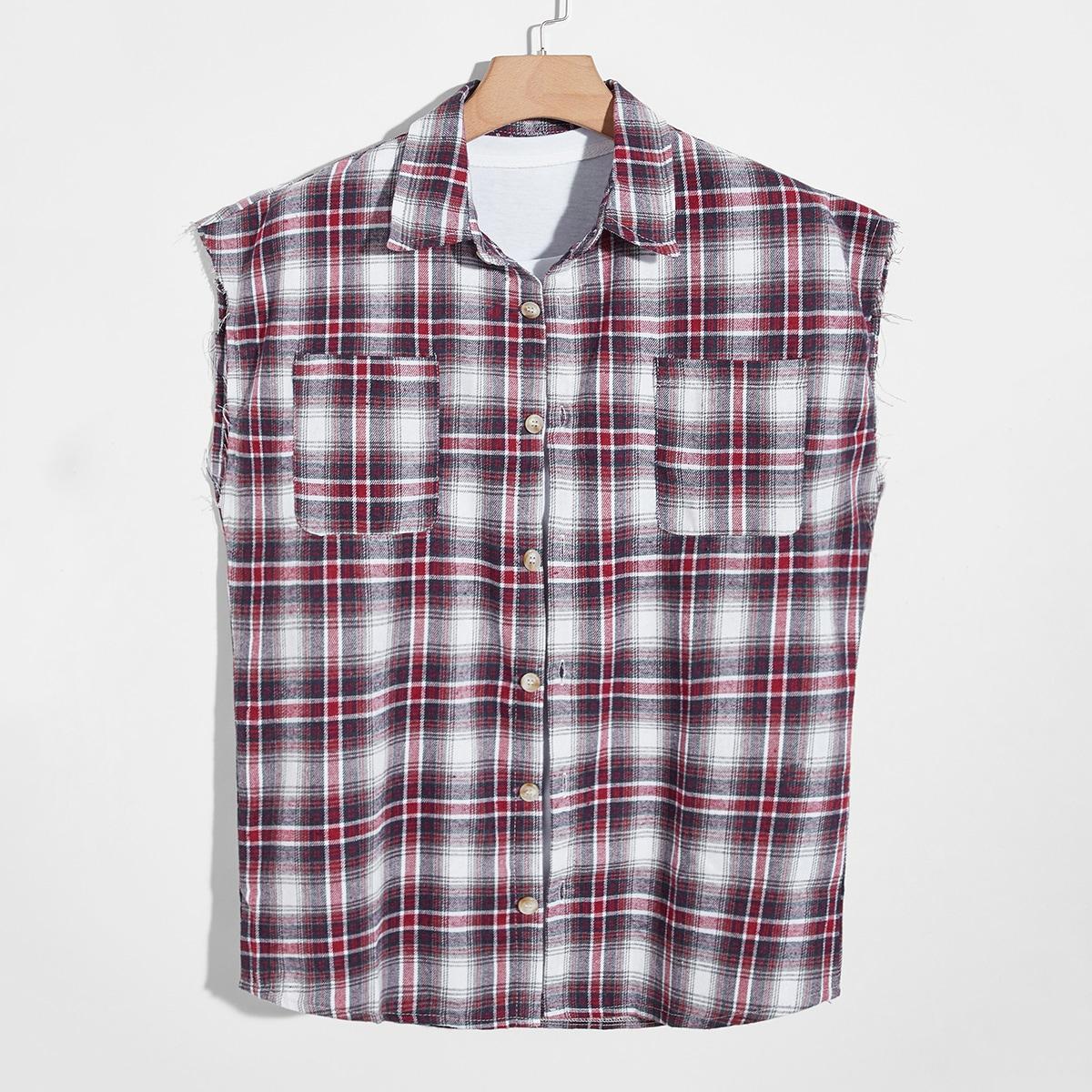 Мужской Рубашка в клетку без рукавов