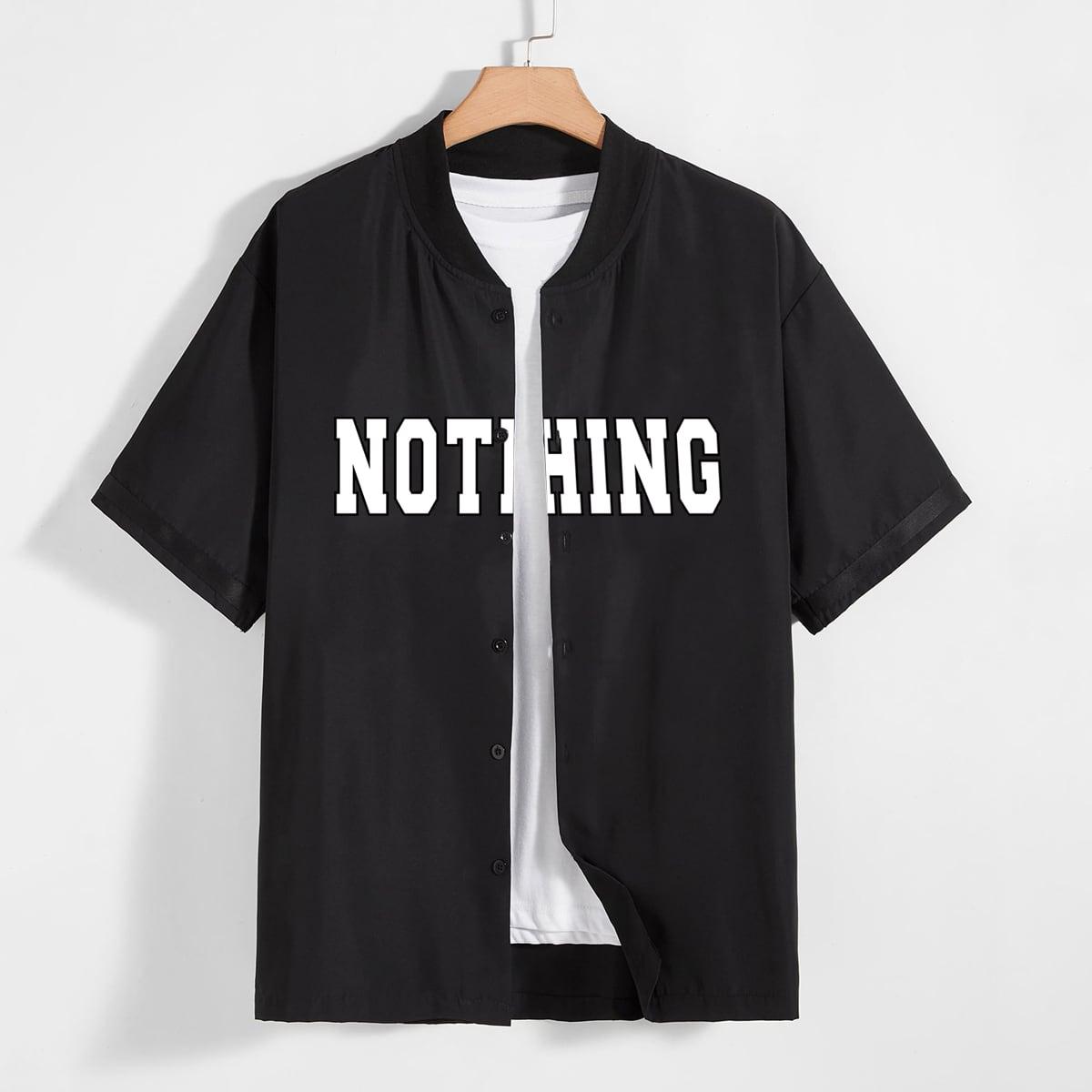 1шт Мужская рубашка с текстовым рисунком